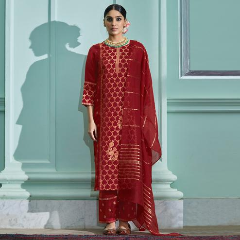 Charming Maroon Colored Partywear Pure Viscose Palazzo Suit