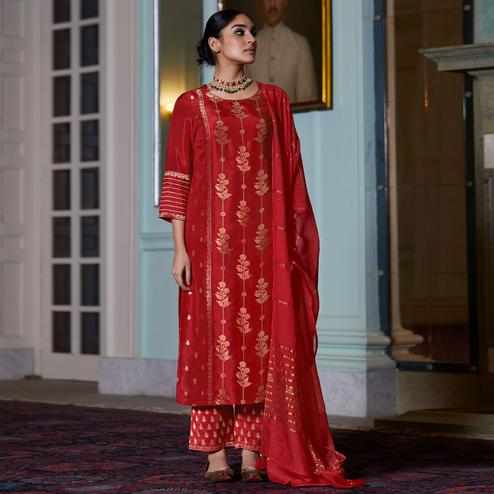 Ravishing Red Colored Partywear Pure Viscose Palazzo Suit