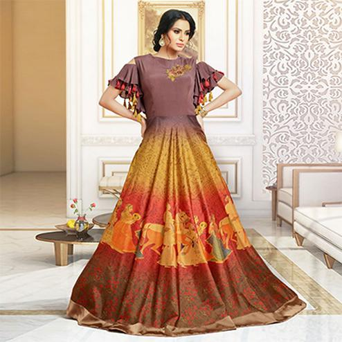Lovely Multi Colored Party Wear Digital Print Pure Satin Gown