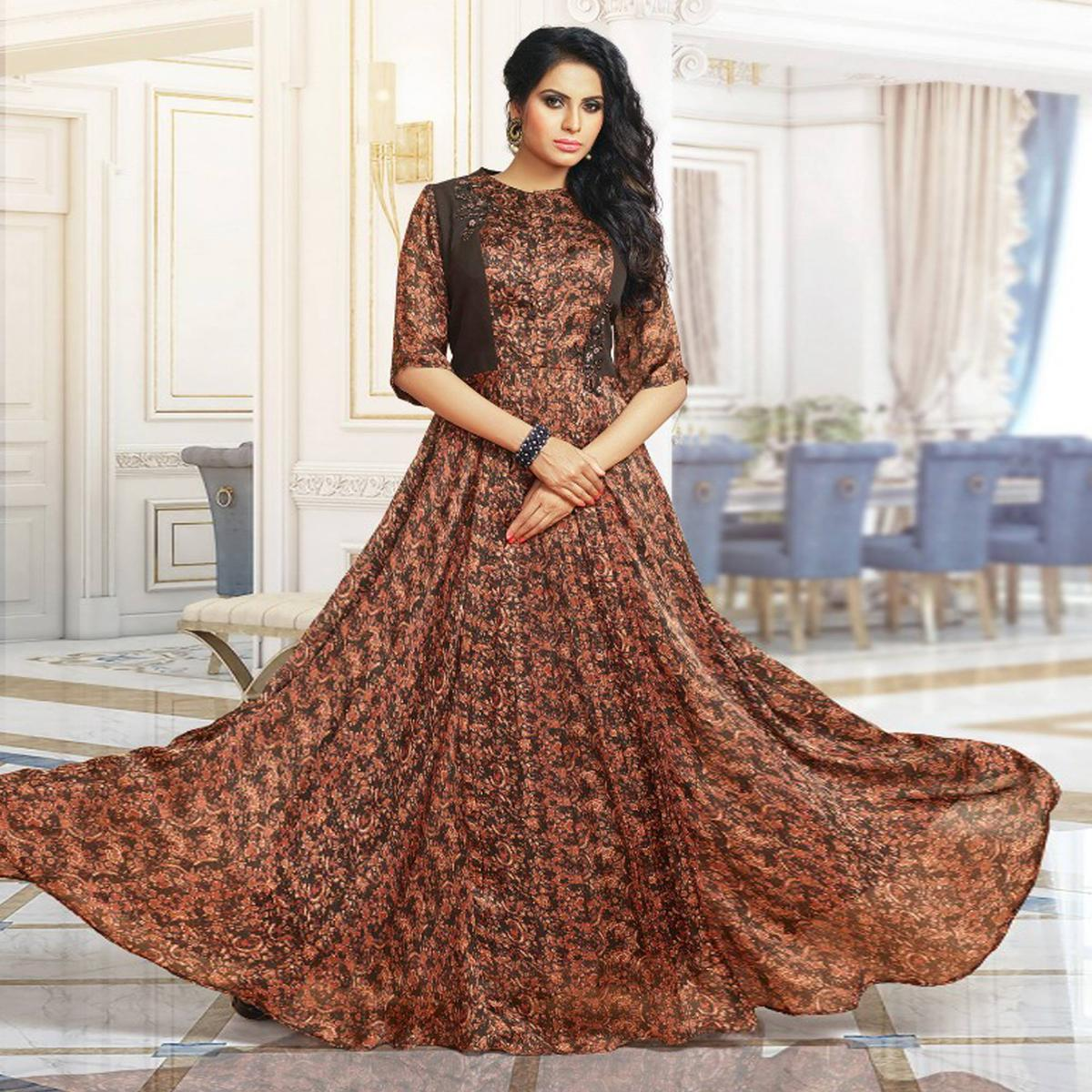 Adorable Brown Colored Partywear Digital Printed Pure Satin Gown