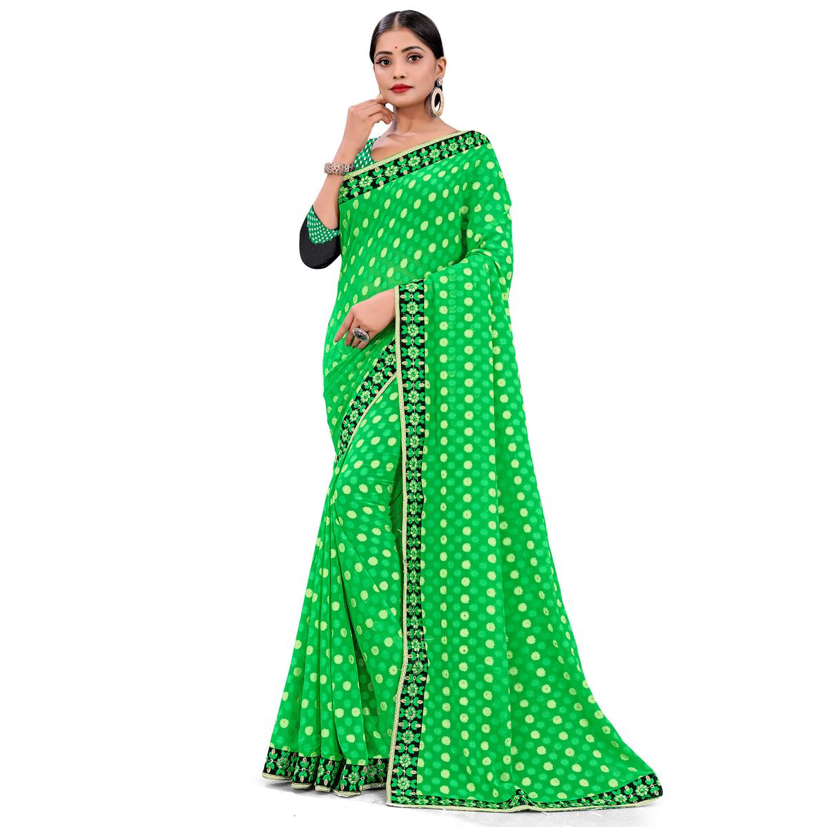 Ravishing Green Colored Party Wear Georgette Saree