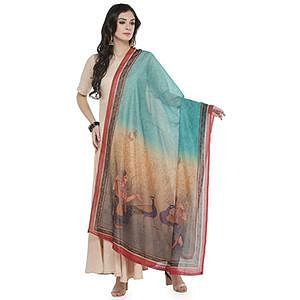 Beautiful Blue Colored Printed Chanderi Silk Dupatta