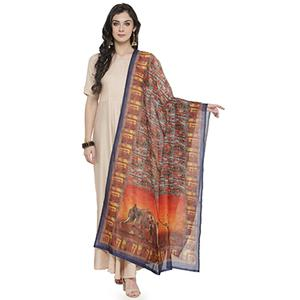 Multi Colored Digital Elephat And Warli Printed Chanderi Silk Dupatta