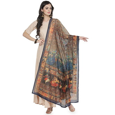 Classy Multi Colored Digital Peacock Printed Chanderi Silk Dupatta