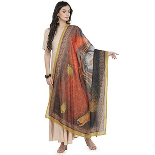 Beautiful Multi Colored Digital Printed Chanderi Silk Dupatta