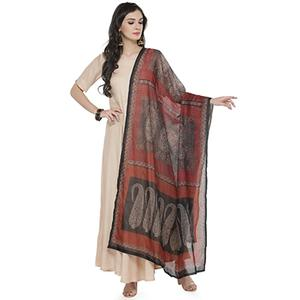 Red Colored Digital Paisley Printed Chanderi Silk Dupatta