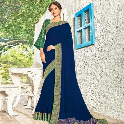 Capricious Royal Blue Coloured Party Wear Embroidered Chiffon Saree