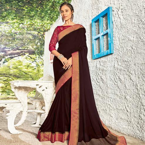 Entrancing Brown Coloured Party Wear Embroidered Chiffon Saree