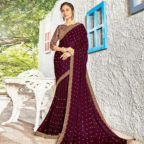 Flaunt Wine Coloured Party Wear Embroidered Chiffon Saree