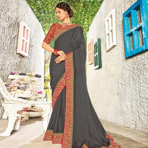 Flattering Grey Coloured Party Wear Embroidered Chiffon Saree