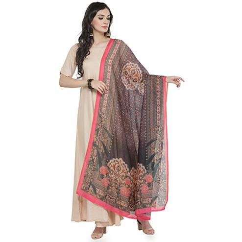 Pink Color Bordered Digital Floral Printed Chanderi Silk Dupatta