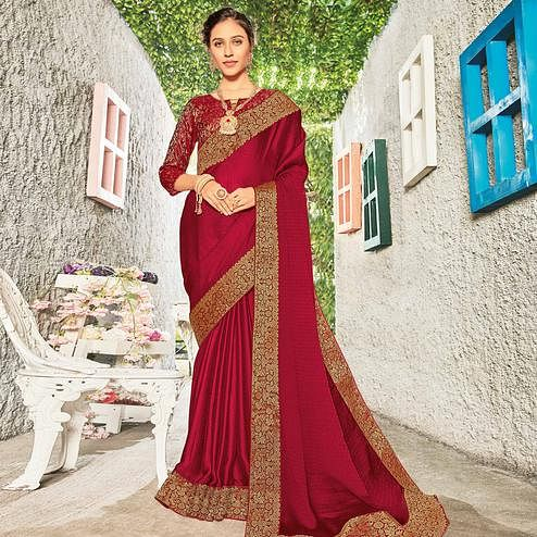Refreshing Maroon Coloured Party Wear Embroidered Chiffon Saree