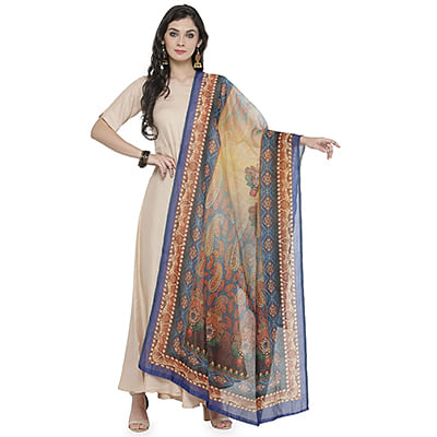 Yellow-Blue Colored Digital Paisley Printed Chanderi Silk Dupatta