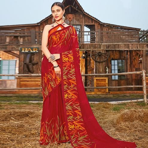 Engrossing Red Coloured Partywear Pure Georgette Floral Printed Saree With Fancy Lace Border