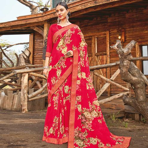 Mesmerising Gazari Red Coloured Partywear Pure Georgette Floral Printed Saree With Fancy Lace Border