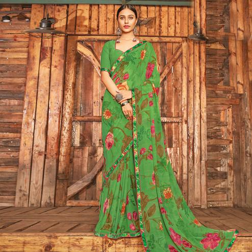 Breathtaking Green Coloured Partywear Pure Georgette Floral Printed Saree With Fancy Lace Border