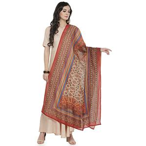 Red-Beige Colored Digital Floral Printed Chanderi Silk Dupatta
