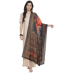 Classy Multi Colored Digital Human Figures Printed Chanderi Silk Dupatta