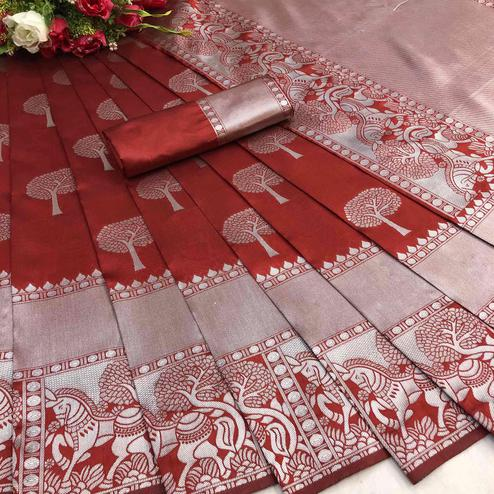 Blooming Red Colored Festive Wear Printed Cotton Silk Saree