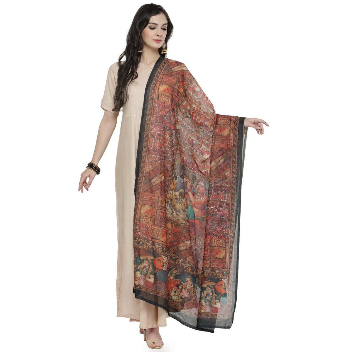 Lovely Multi Colored Digital Human Figures Printed Chanderi Silk Dupatta