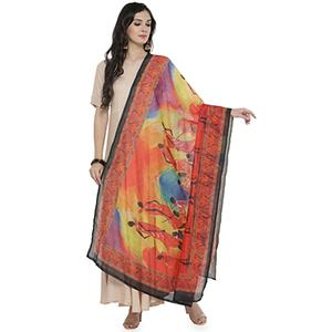 Orange Colored Digital Warli Printed Chanderi Silk Dupatta