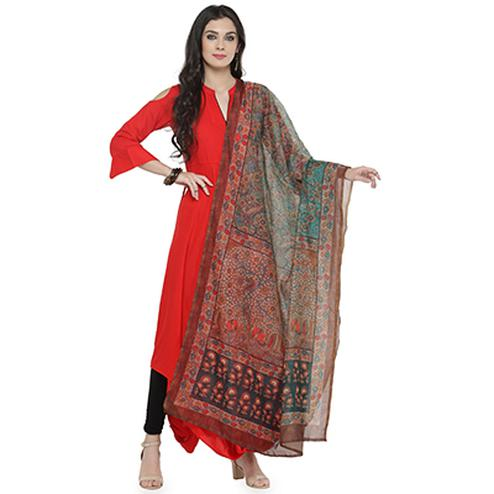 Multi Colored Digital Floral Printed Chanderi Silk Dupatta