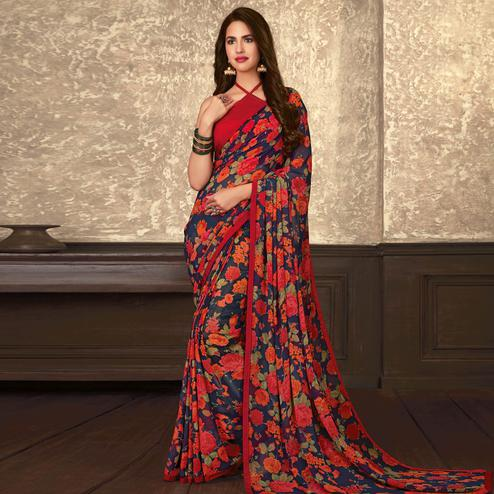 Engrossing Blue Coloured Casual Wear Printed Georgette Saree