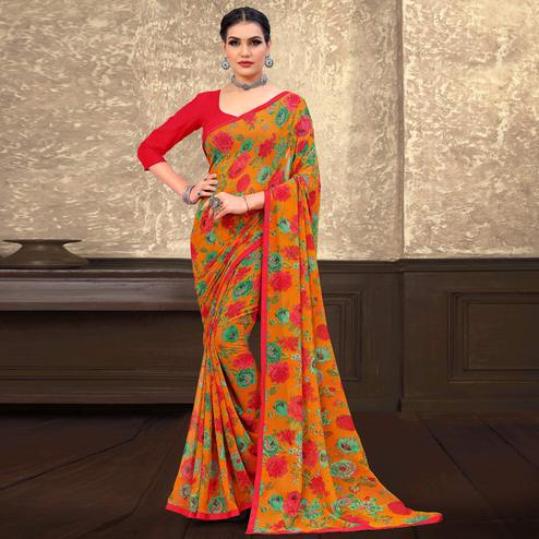 Innovative Yellow Coloured Casual Wear Printed Georgette Saree