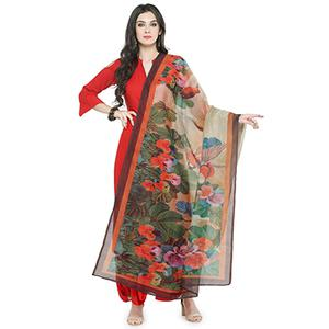 Beige Colored Digital Floral Printed Chanderi Silk Dupatta