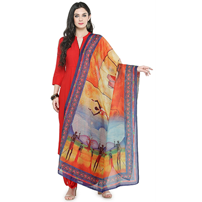 Multi Colored Digital Warli Printed Chanderi Silk Dupatta