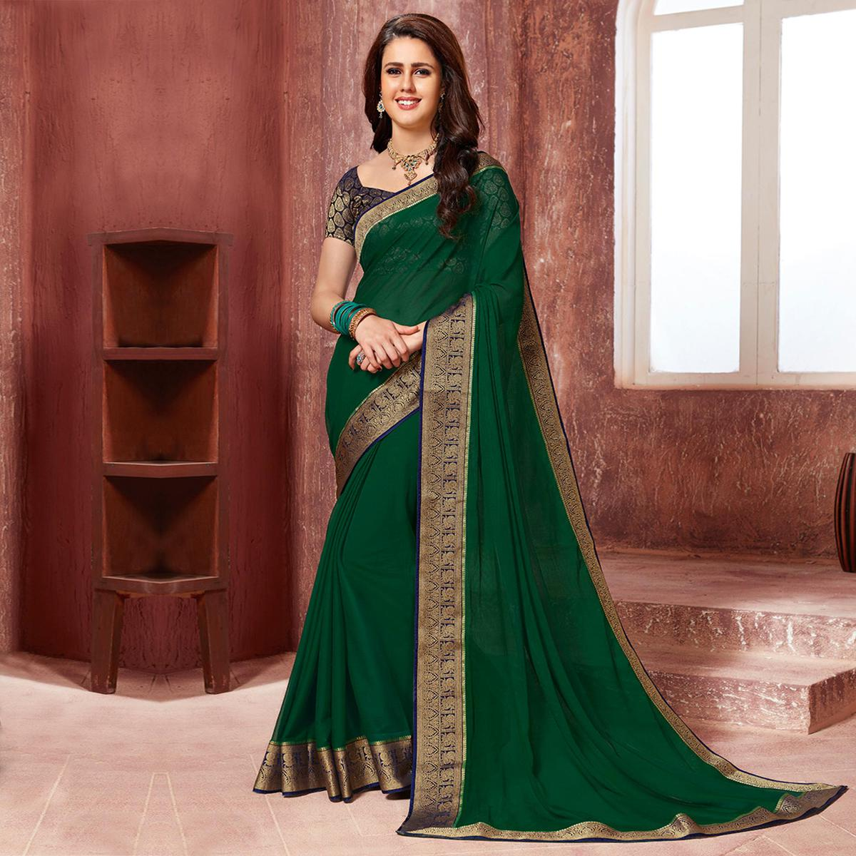 Eye-catching Green Coloured Partywear Lace Border Pure Chiffon Saree
