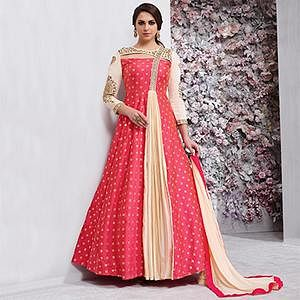 Adorable Pink - Cream Embroidered Designer Tapeta Silk Gown