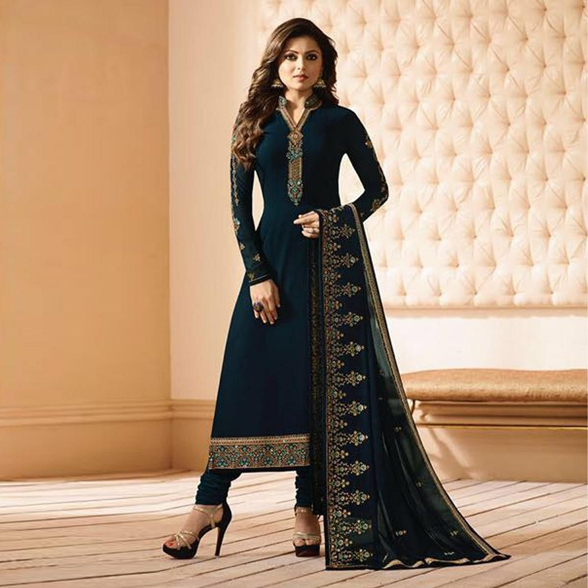 Attractive Blue Partywear Designer Embroidery Georgette Salwar Suit