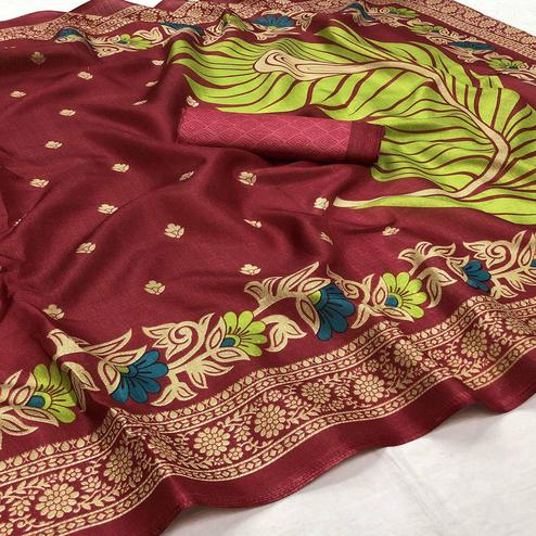 Gorgeous Red Colored Festive Wear Woven Art Silk Saree