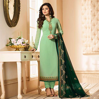 Blooming Light Green Partywear Designer Embroidery Faux Georgette Salwar Suit