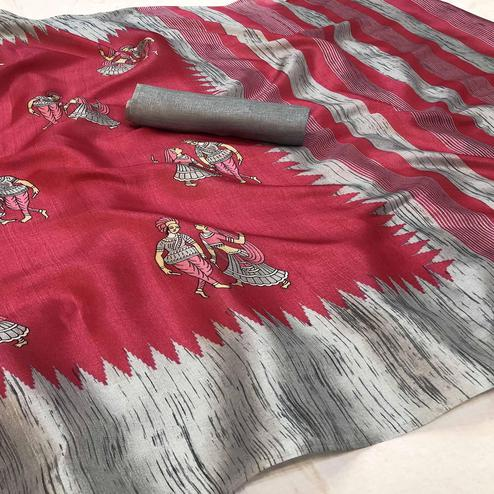 Attractive Pink Colored Festive Wear Printed Khadi Silk Saree