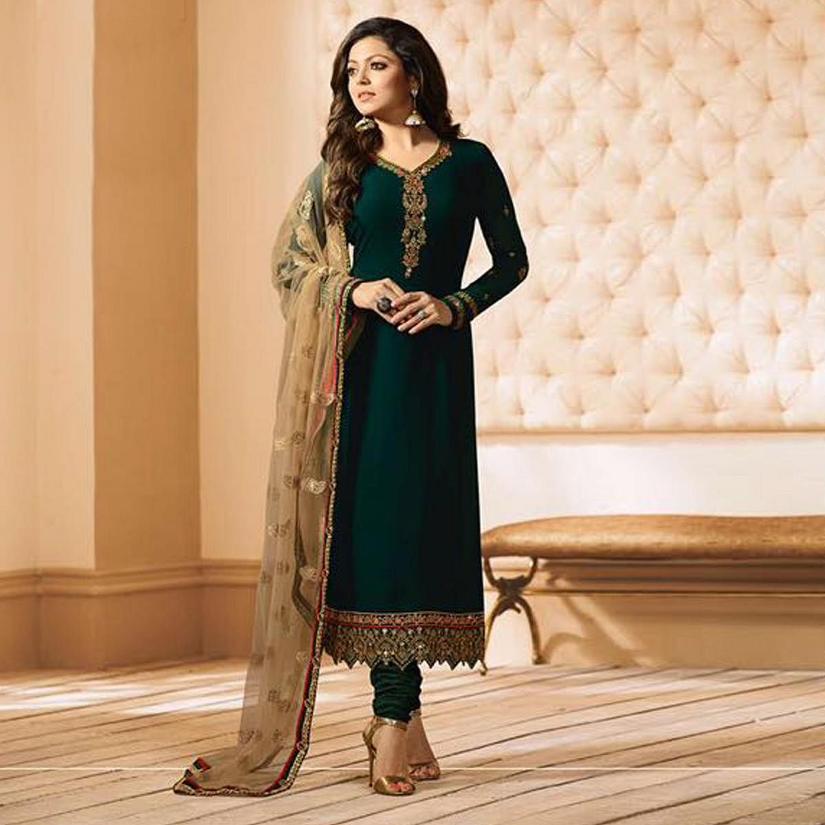 Sizzling Green Partywear Designer Embroidery Faux Georgette Salwar Suit