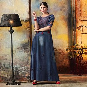 Stylist Blue Designer Pattern Embroidered Denim Kurti