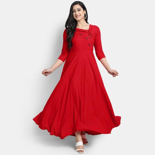 Globon Impex - Women Red Solid Viscose Rayon Maxi Dress
