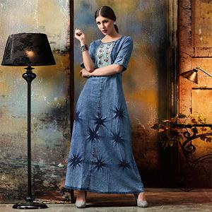 Classy Blue Designer Pattern Embroidered Denim Kurti