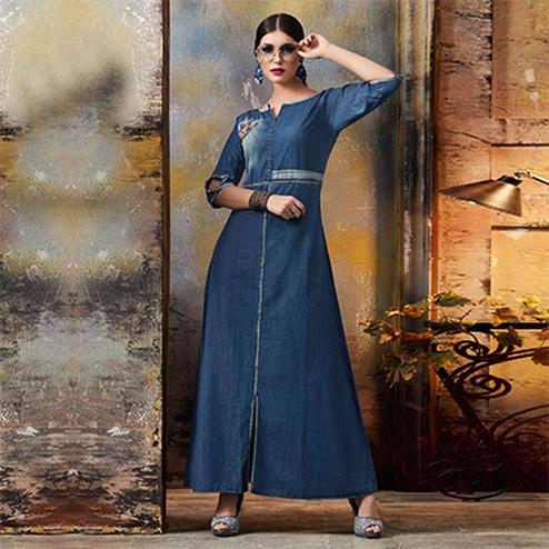 Lovely Blue Designer Pattern Embroidered Denim Kurti