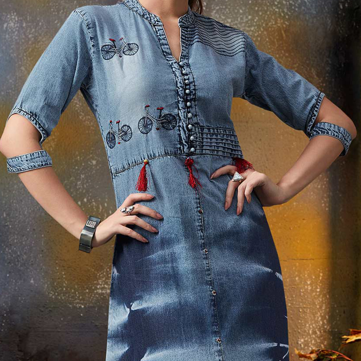 Beautiful Blue Designer Pattern Embroidered Denim Kurti