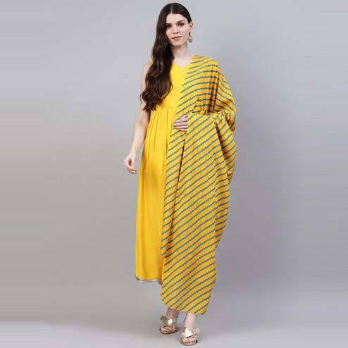 Glowing Mustard Yellow Colored Partywear Solid Rayon Kurti - Dupatta Set