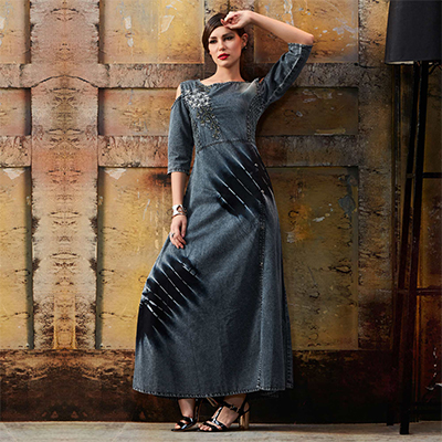 Stylish Grey Designer Pattern Embroidered Denim Kurti