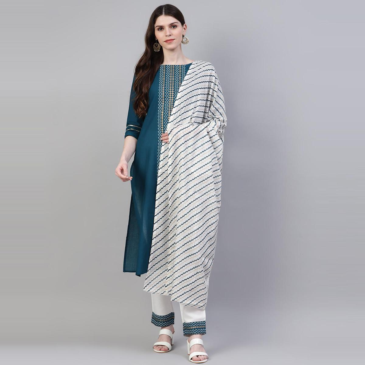 Excellent Teal Blue Colored Casual Wear Printed Cotton Kurti - Pant Set With Dupatta