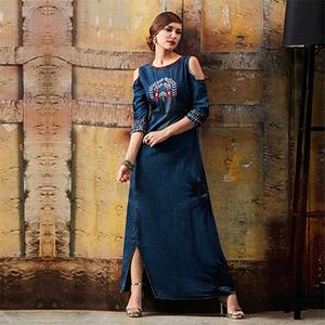 Pretty Blue Designer Pattern Embroidered Denim Kurti
