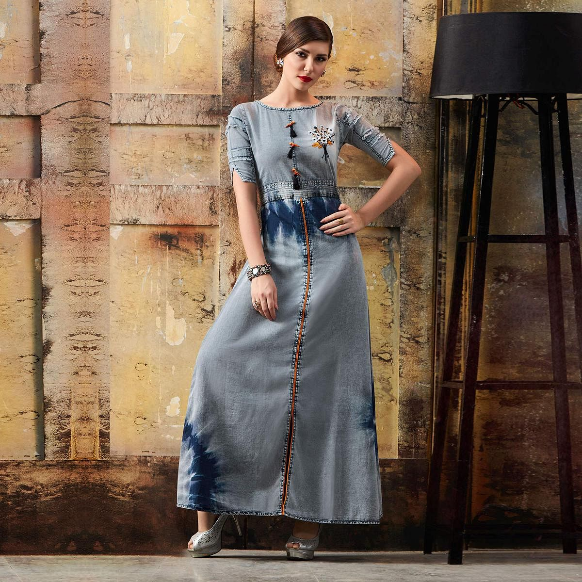 Classy Grey Designer Pattern Embroidered Denim Kurti