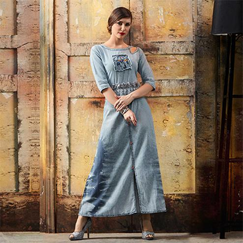 Lovely Grey Designer Pattern Embroidered Denim Kurti