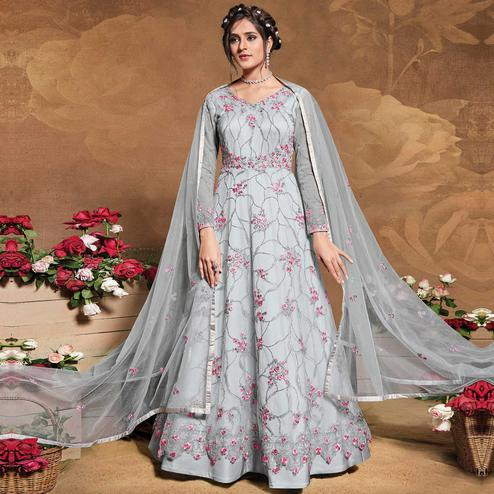 Stylee Lifestyle Grey Colored Partywear Embroidered Net Anarkali Suit