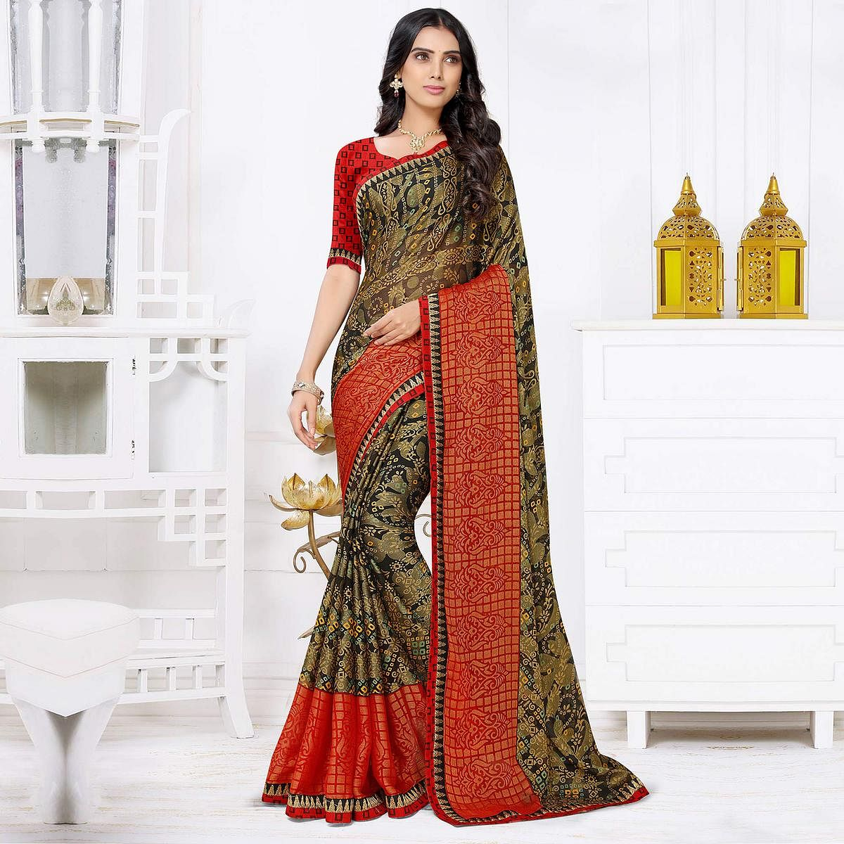 Ethnic Brown-Red Coloured Printed Casual Wear Chiffon Brasso Saree